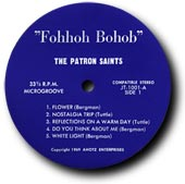 An original Fohhoh Bohob LP label, in stunning blue and silver.